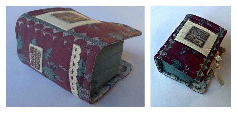 book pincushion, with hop fabrics
