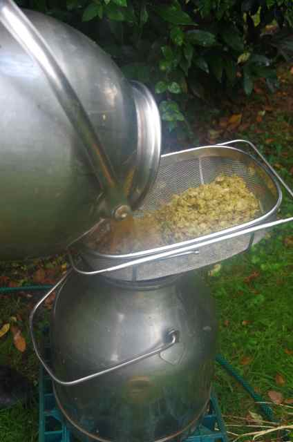 straining the hops off