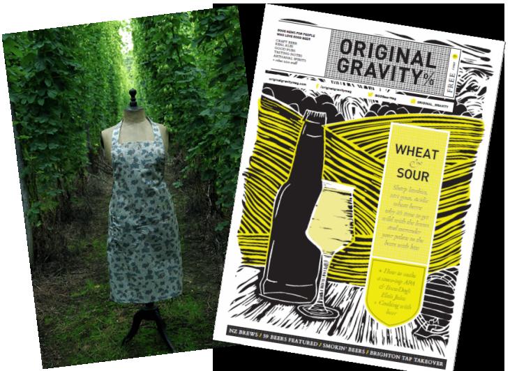 original gravity hop apron. original gravity competition, hop fabrics, BBQ apron