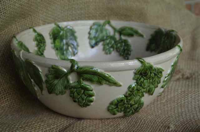 hop decorated pottery bowl
